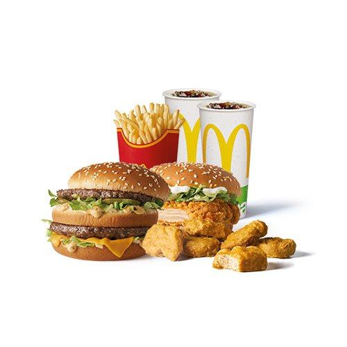 經典大麥克加勁辣雞腿堡,2杯飲料和大薯、雞塊,優惠組合價239元。圖/麥當勞提供