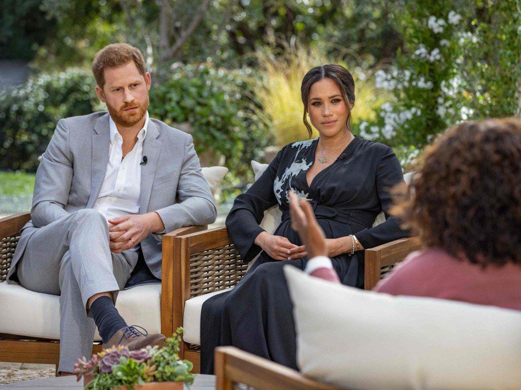哈利與梅根的專訪7日在美國哥倫比亞廣播公司(CBS)播出。法新社