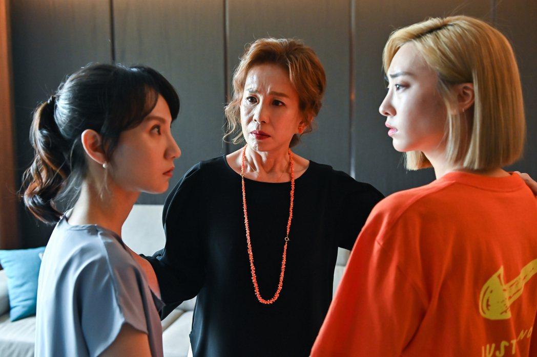 張寗(左起)在「未來媽媽」中飽受婆婆周丹薇、小姑席惟倫欺負。圖/三立提供