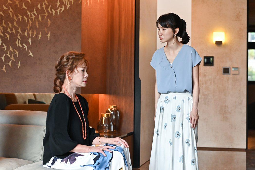 張寗(右)在「未來媽媽」中飽受婆婆周丹薇欺負。圖/三立提供