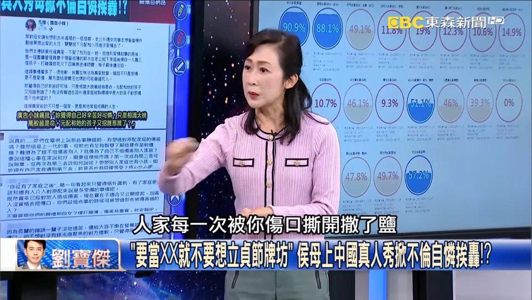 粘嫦鈺在「關鍵時刻」節目上,砲轟侯佩岑母女。 圖/擷自Youtube