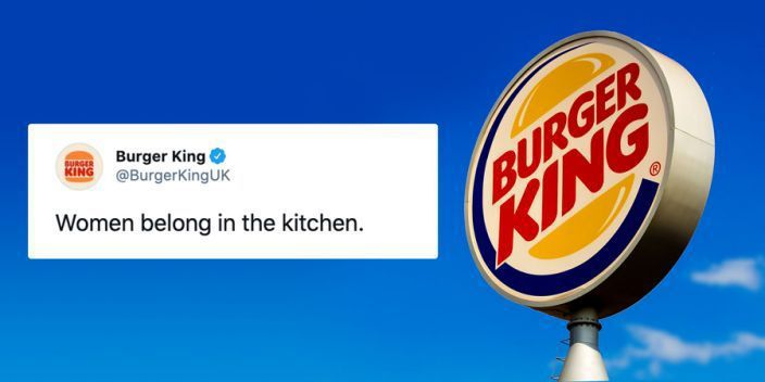 漢堡王英國官方推特跟臉書帳號,在3月8日國際婦女節發布了一則貼文:「女人屬於廚房」。圖/取自today