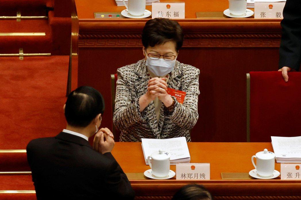 3月5日,香港行政長官林鄭月娥出席全國人大會議。 圖/路透社
