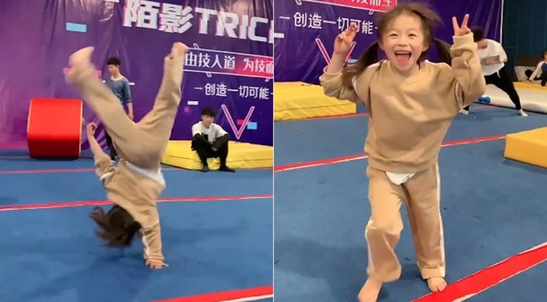 大陸7歲女童連續20個單手後空翻,網友看完不禁直呼「太酷了」。圖擷自揚子晚報