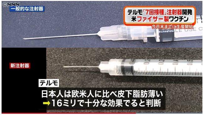 日本醫療器材大廠泰爾茂開發特殊注射針筒(下),讓原本一瓶可施打6次的輝瑞疫苗,將可施打7次。 圖擷自日媒NNN