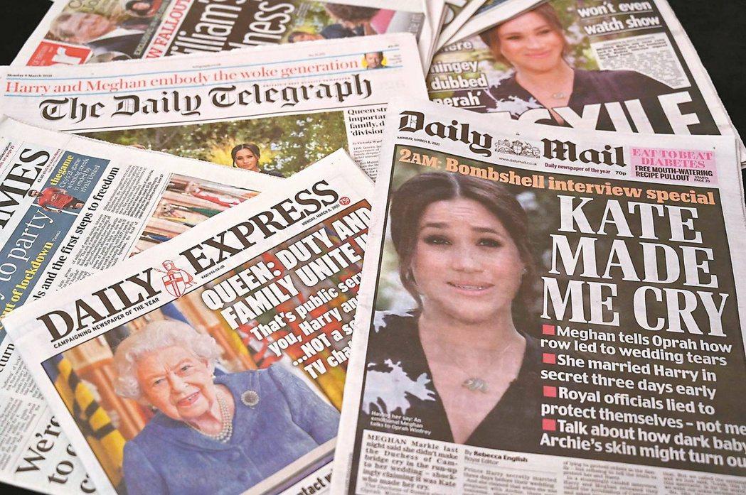 英國多家報紙八日以頭版報導英國哈利王子與妻子梅根接受專訪,對哈利夫婦多半持嘲諷態...