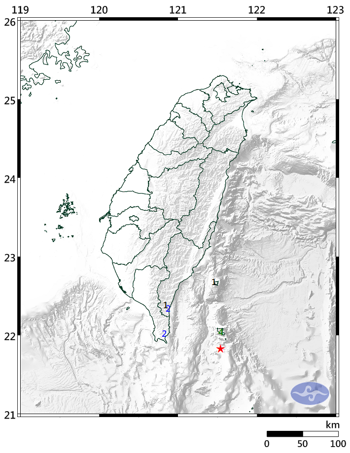 台東蘭嶼外海發生苪氏規模4.8地震,最大震度4級。圖/取自氣象局