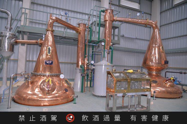 雅沐特新酒廠蒸餾器。圖/豪邁國際提供。 提醒您:禁止酒駕 飲酒過量有礙健康。