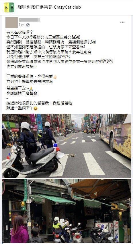 愛貓人士將警察救貓的過程貼到臉書社團,引起熱烈回響。記者林昭彰/翻攝