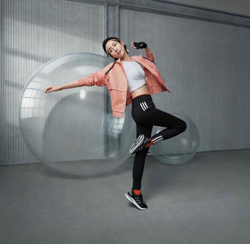 張鈞甯率先演繹adidas推出全新女子運動裝備系列,號召新時代女性共同透過運動表達自我。圖/adidas提供