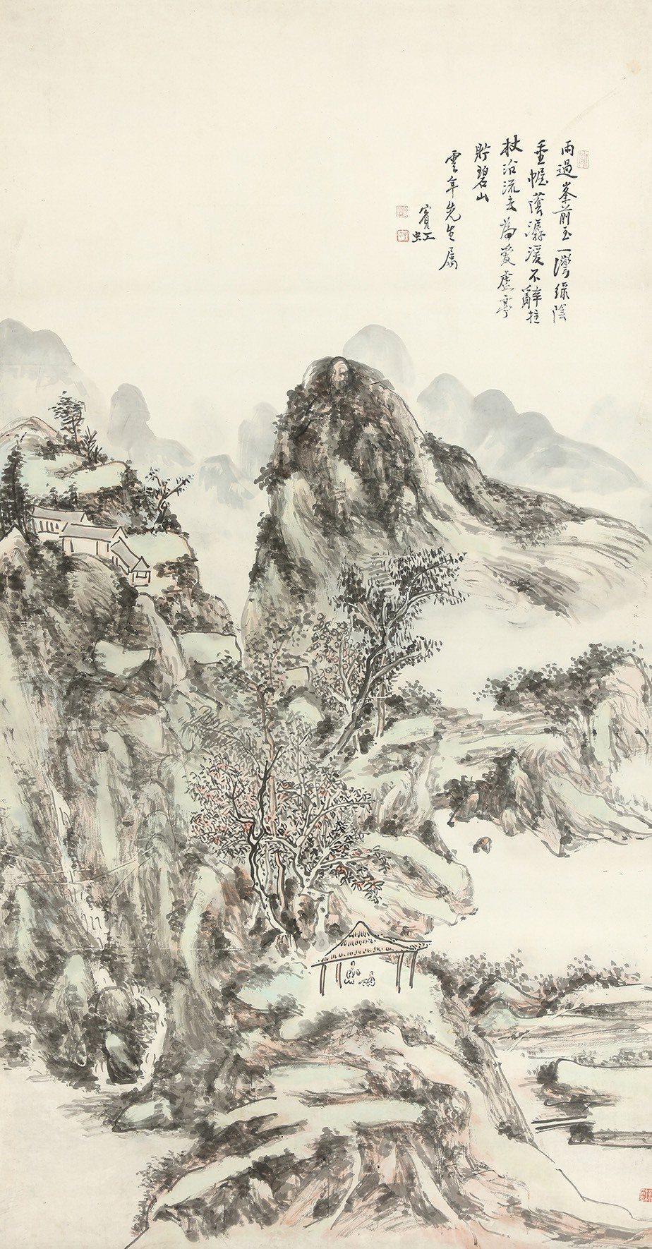 安德昇2019年拍賣一代山水畫大師黃賓虹作品「山水」,成交價805萬元。安德昇/...