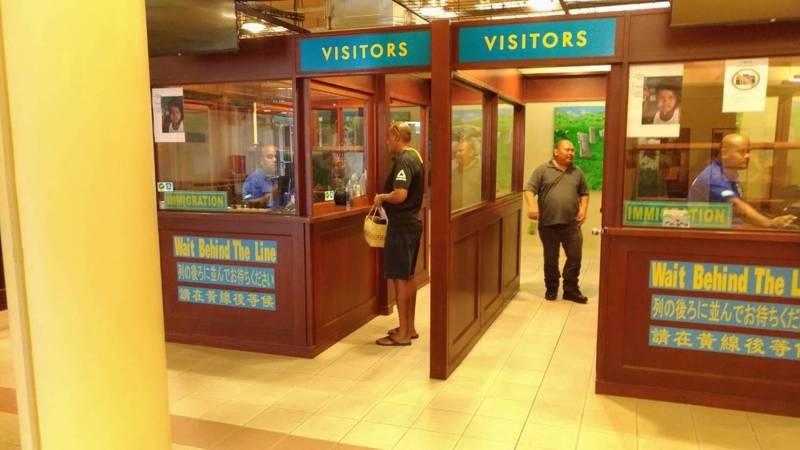 帛琉演練入境海關動線。圖/新光醫院提供