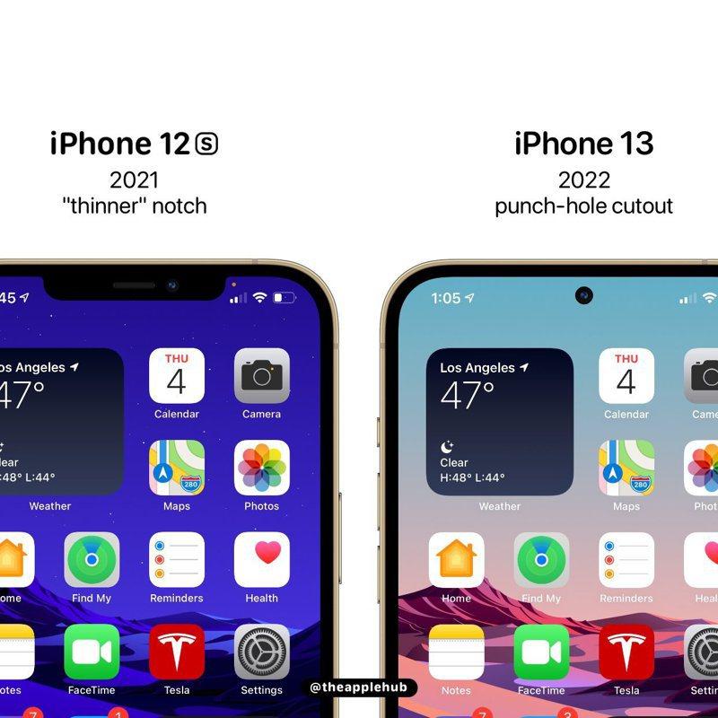 推特上渲染圖顯示iPhone 13瀏海有機會「縮小」。 圖擷自@theapplehub