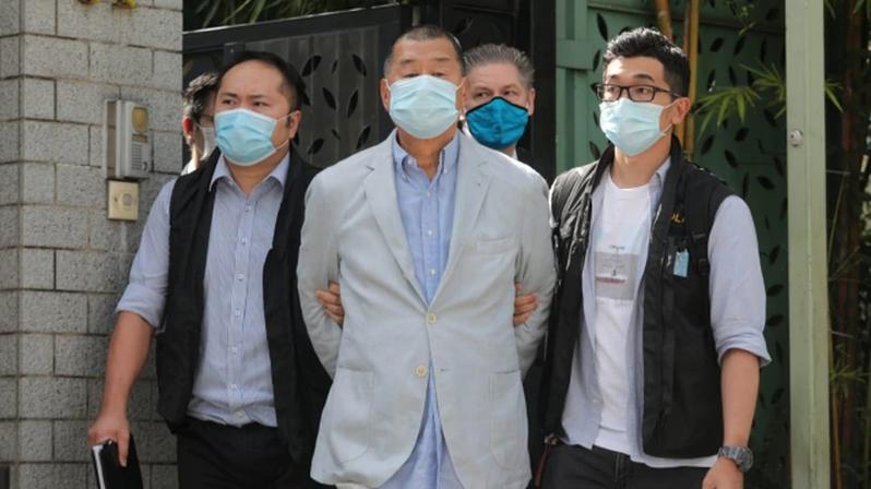 香港法庭10日裁定壹傳媒創辦人黎智英非法集結所有控罪表面證據成立。(圖/取自觀察者網)