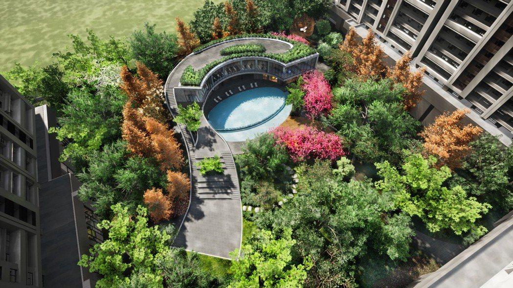 千坪泳池森林秘境,海景第一排吸引粉絲搶購。 圖/聯悦建設 提供