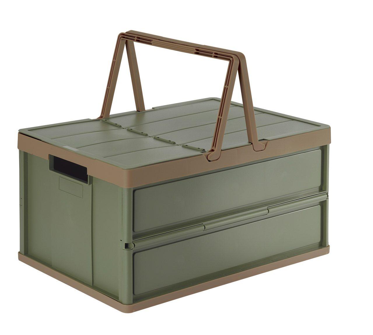手提摺疊收納箱不論居家收納或外出野餐郊遊都適合。 圖/HOLA特力和樂提供
