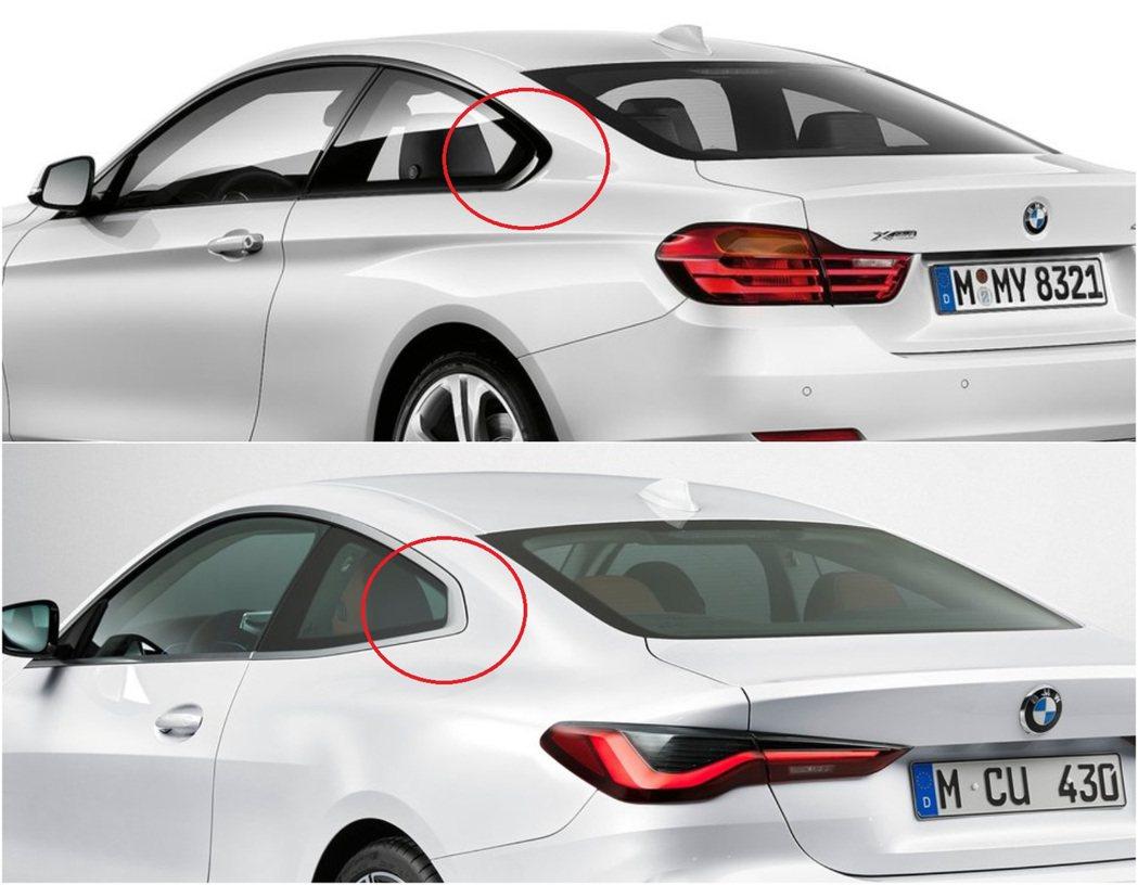 新4-Series增加了車身腰線的角度,且把BMW傳統的霍夫邁斯特拐角(Hofm...