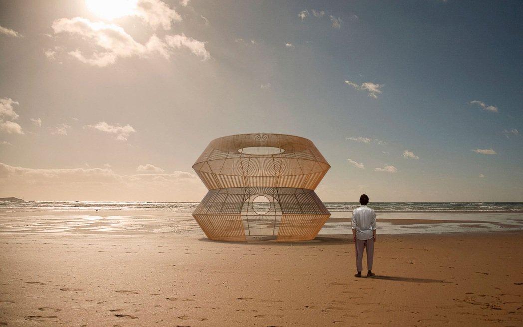 2021漁光島藝術節將展出藝術家范承宗作品《筌屋》,此為模擬圖。 圖/台南市文化...