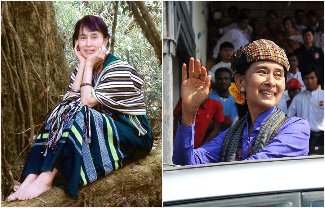 左圖是2003年翁山蘇姬訪問欽邦,穿上欽族的傳統服飾;右圖為2012年翁山蘇姬訪...