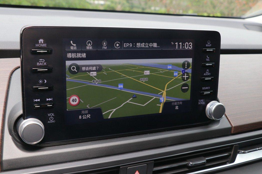 高階車型內建Garmin®衛星導航。 記者陳威任/攝影