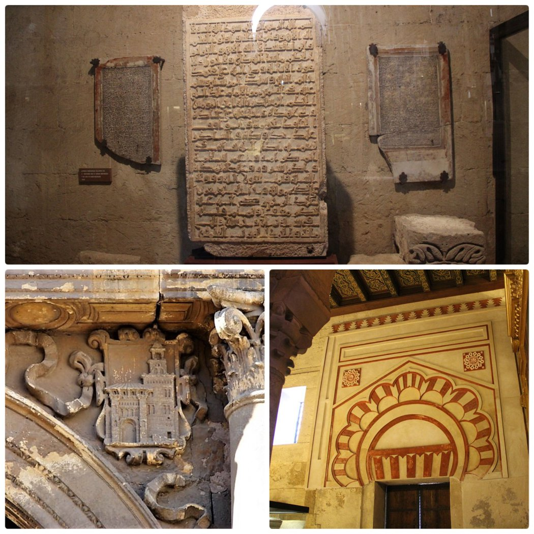 淸真寺時期的作品,牆角上還雕刻著清真寺其中的一個門 (Puerta de Santa Catalina),和還未改變為鐘樓之前的叫拜樓尖塔。