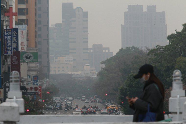 最近台中霧霾嚴重,台中天空一片灰濛濛。圖/亞洲大學附屬醫院提供