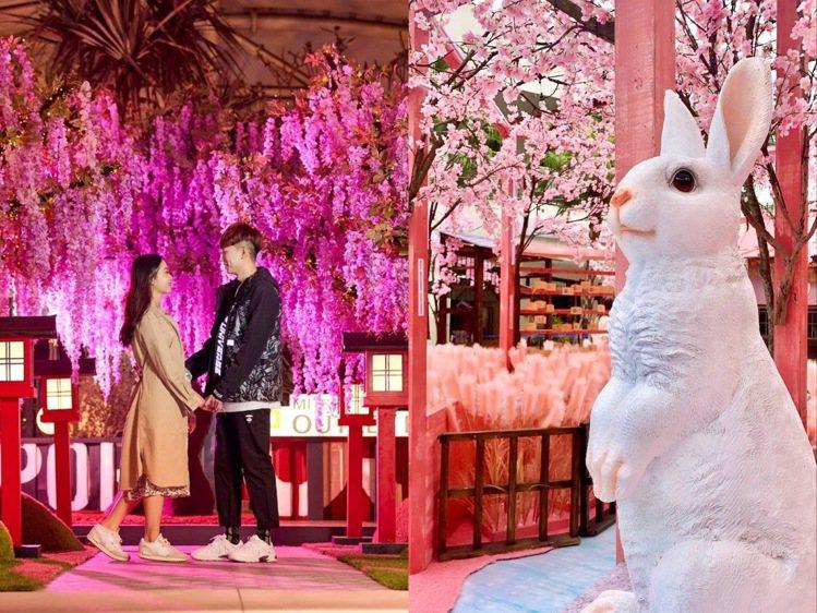 MITSUI OUTLET PARK分別在林口、台中港推出櫻花、紫藤花造景。圖/...