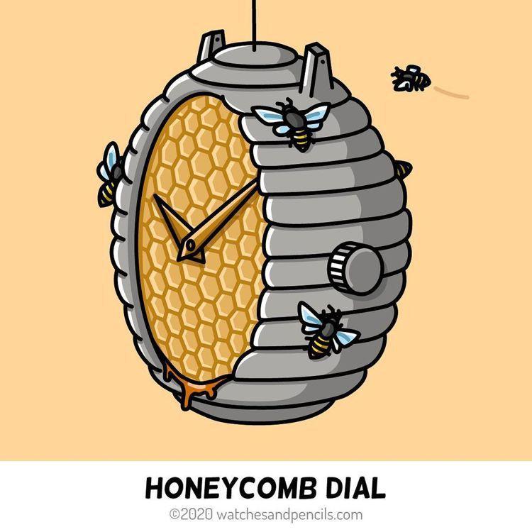 插畫家Teun van Heerebeek將手表變成蜂巢,像是暗喻手表與機械的誘...