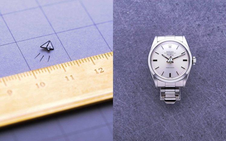 紙飛機造型的秒針,讓古董的勞力士(ROLEX)AirKing腕表突然添多了可愛氣...