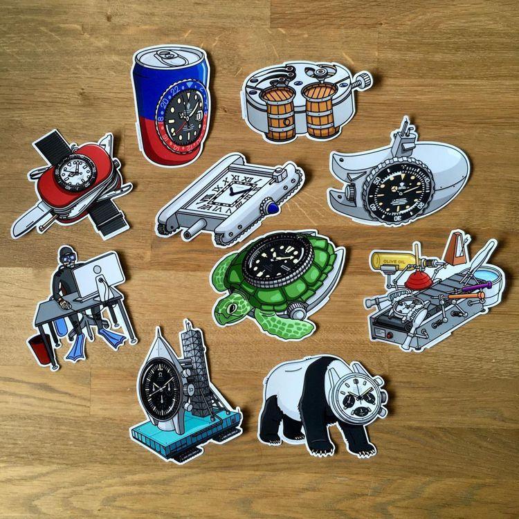 除了可愛插畫、讀本,watches and pencils也發行了貼紙,部分販售...