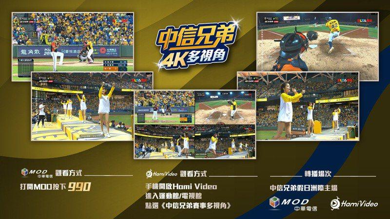 中華電信MOD、Hami Video 4K多視角轉播中信兄弟假日主場。圖/中華電信提供