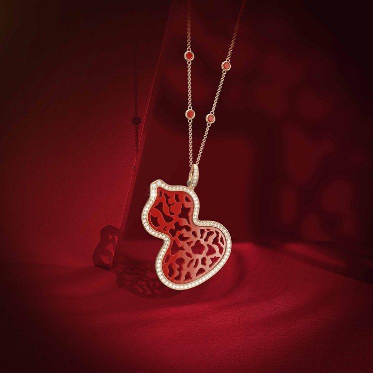 Qeelin新款Wulu Lace 紅瑪瑙系列,葫蘆以18K玫瑰金和鑽石勾勒輪廓...
