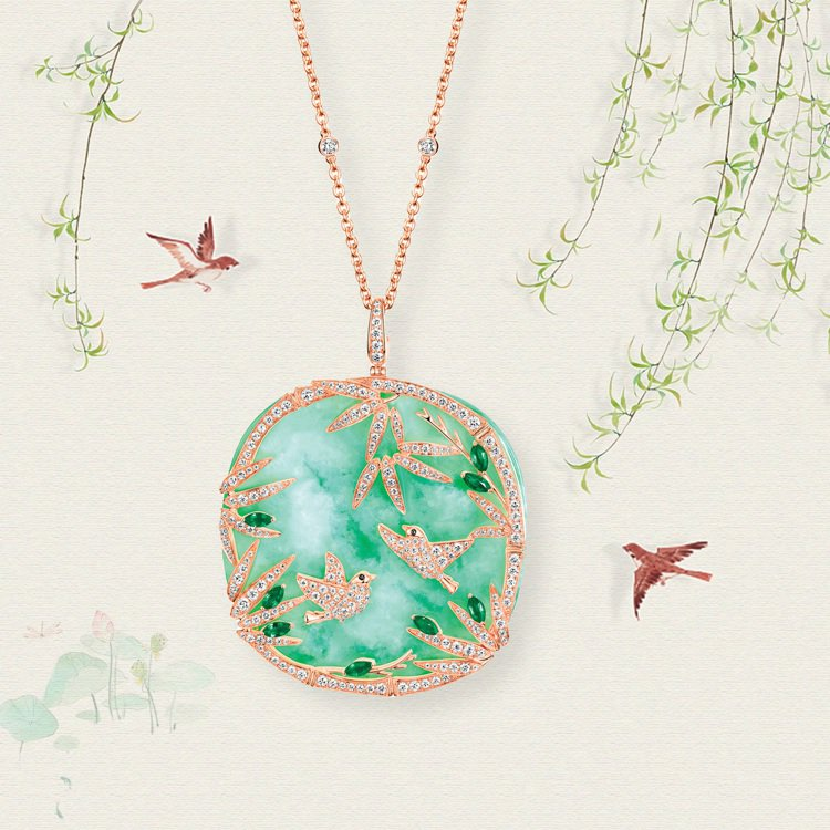 Qeelin _Love Whisper 18K玫瑰金、翡翠、鑽石及綠寶石項鍊,...