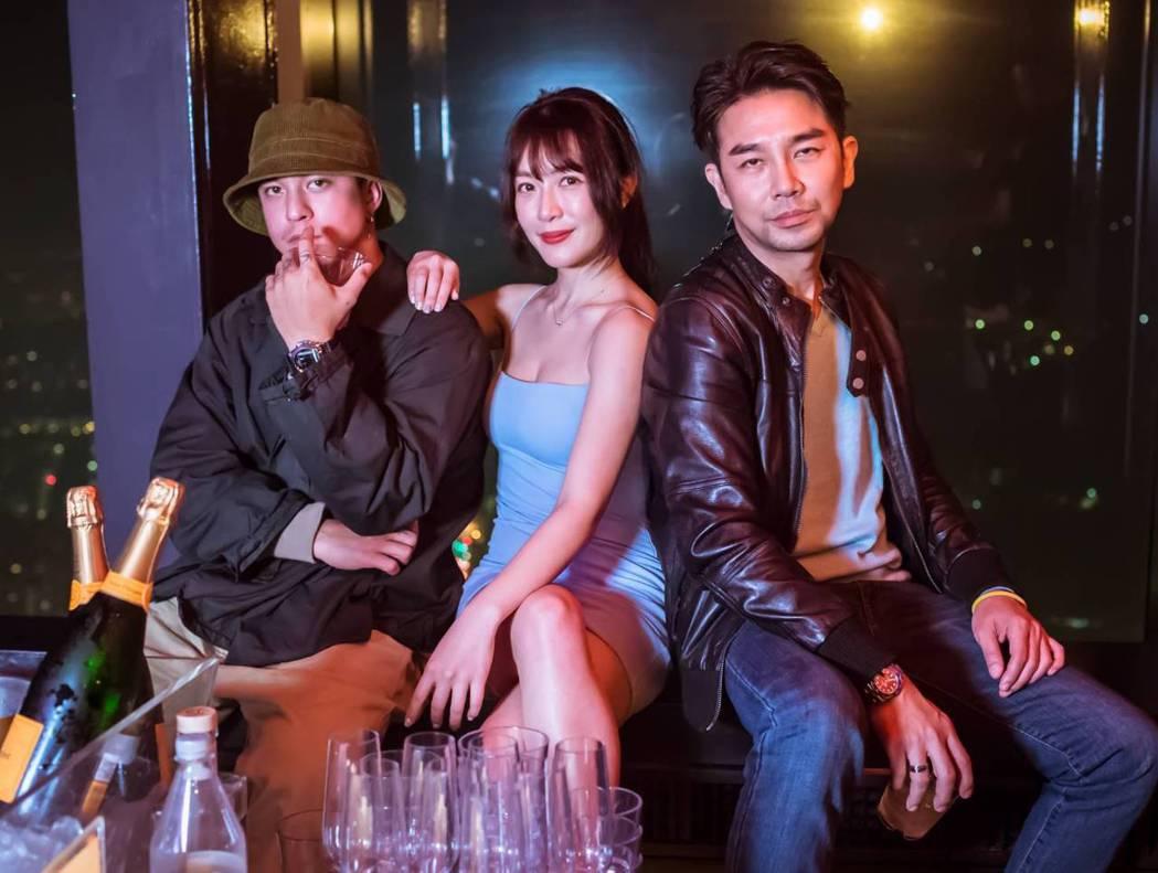 黃遠(左起)、黃巧綸、謝承均為電影去信義區夜店踩點。圖/禾力文創提供