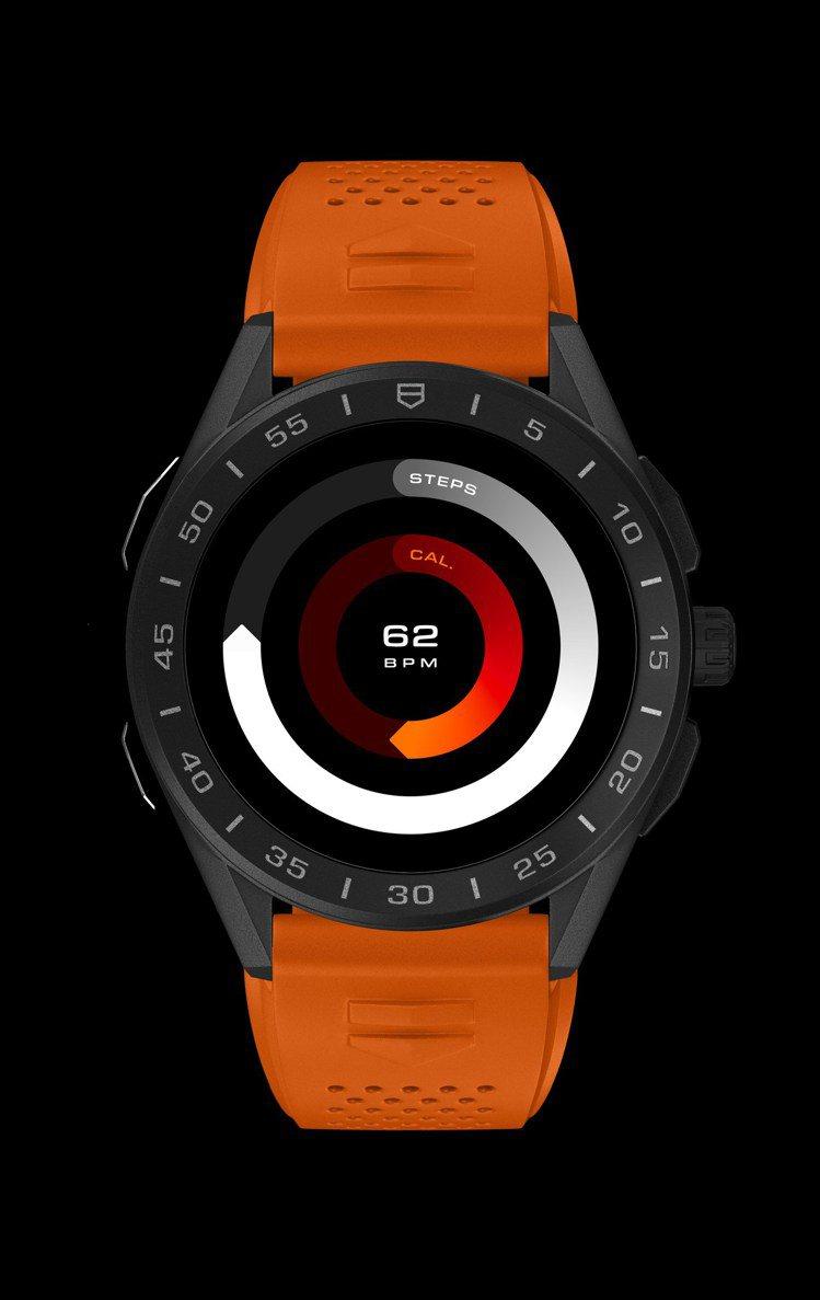 泰格豪雅Connected智能腕表,鈦金屬黑色DLC表殼、黑色陶瓷表圈77,40...