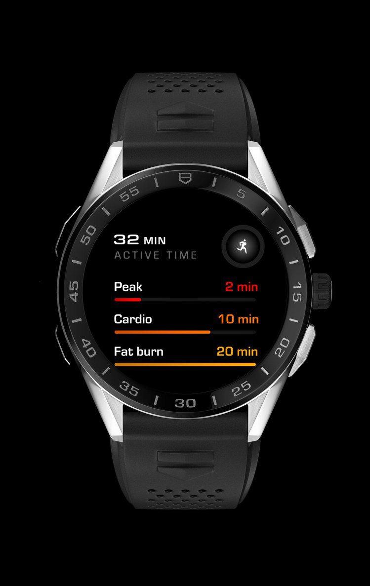 泰格豪雅Connected智能腕表,精鋼表殼、黑色陶瓷表圈58,900元。圖/T...