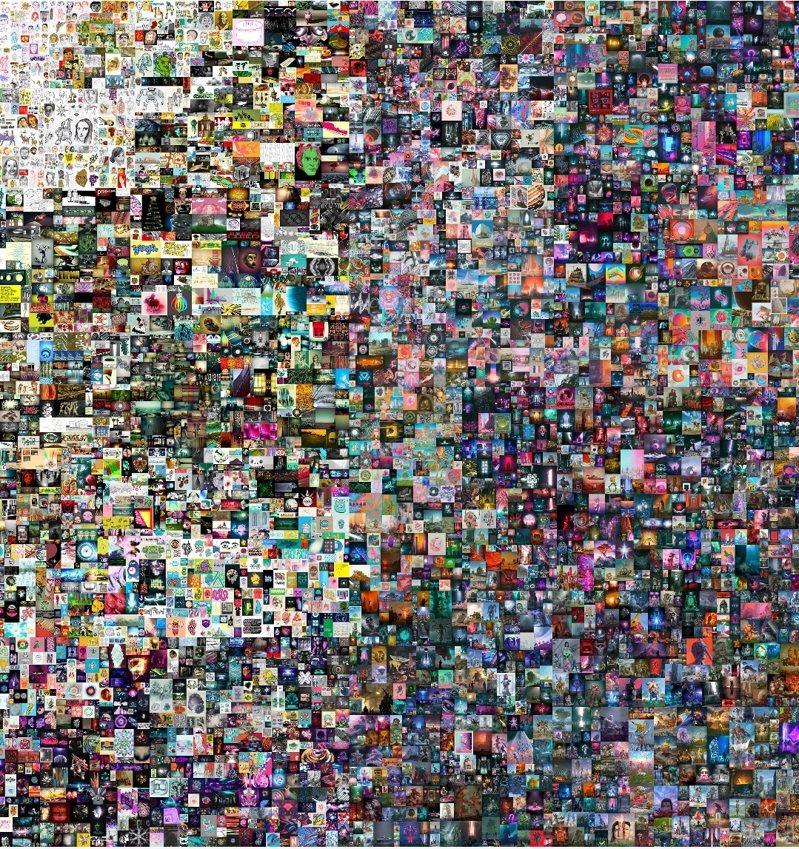 佳士得首次拍賣純數位藝術作品「每一天—前5000天( Everydays—The First 5000 Days)」,累積5000張數位畫作。圖/佳士得提供