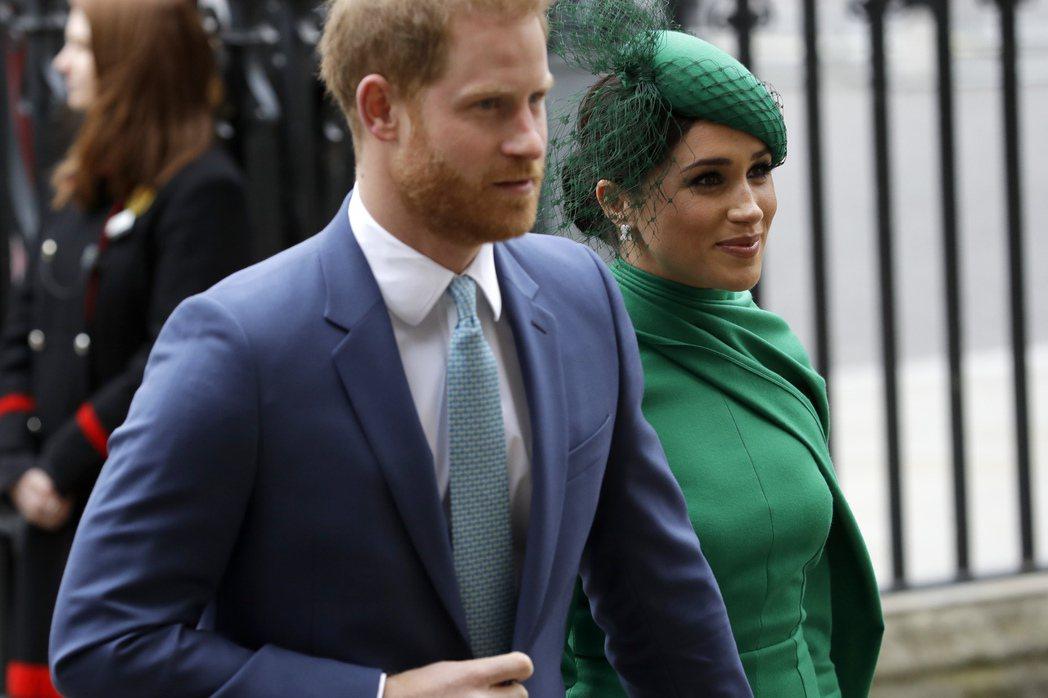 英國哈利王子和妻子梅根。 美聯社