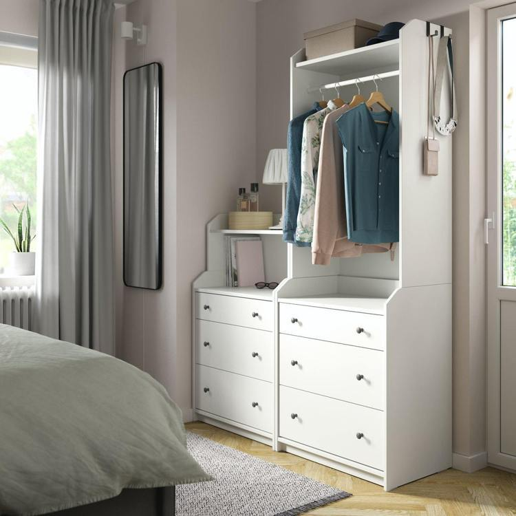 IKEA全新HAUGA開放式衣櫃附3抽屜,滿足吊掛和抽屜收納需求。
