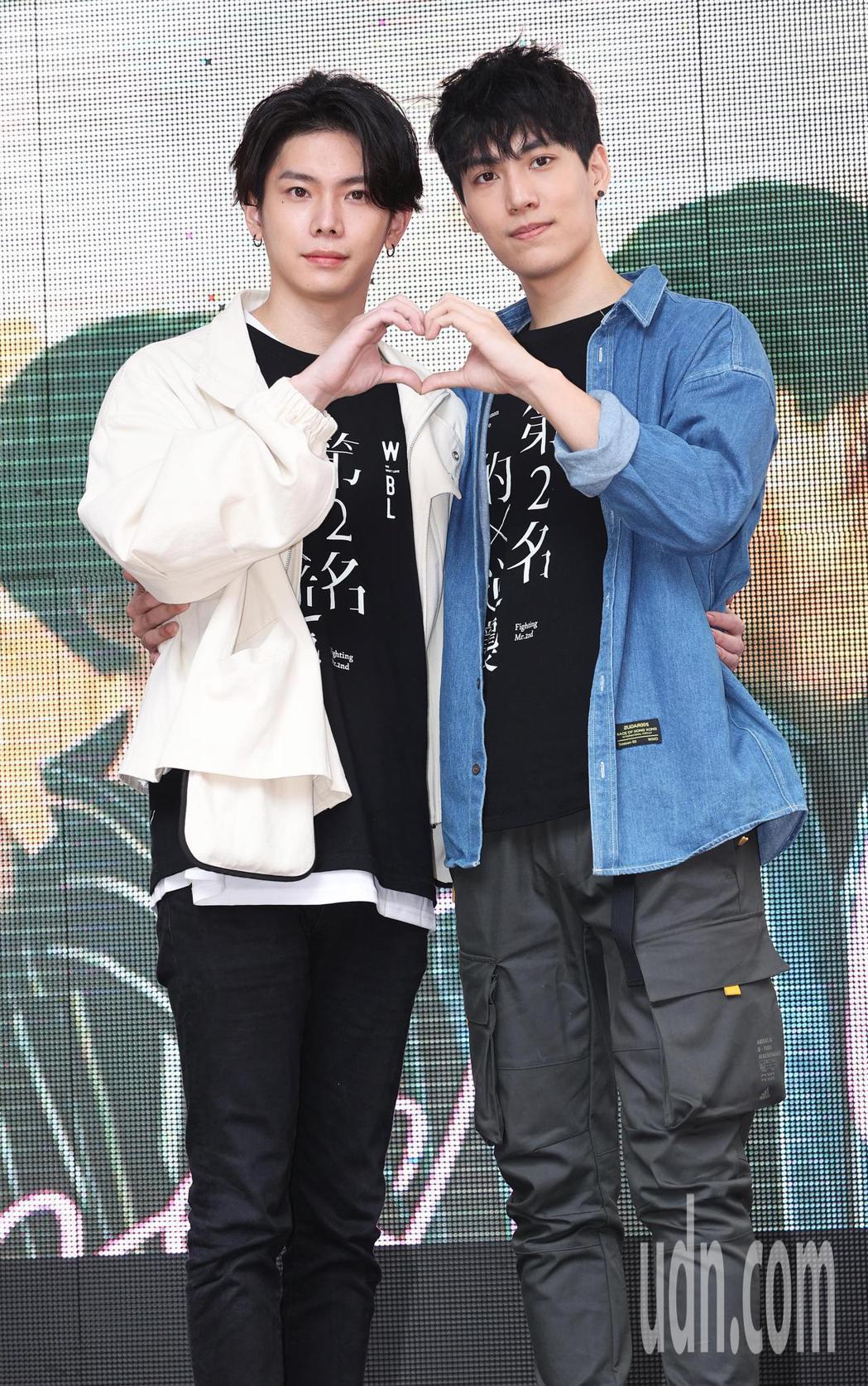 「第二名的逆襲」影集主要演員林子閎(右)與楊宇騰(左)今天與粉絲見面。記者潘俊宏