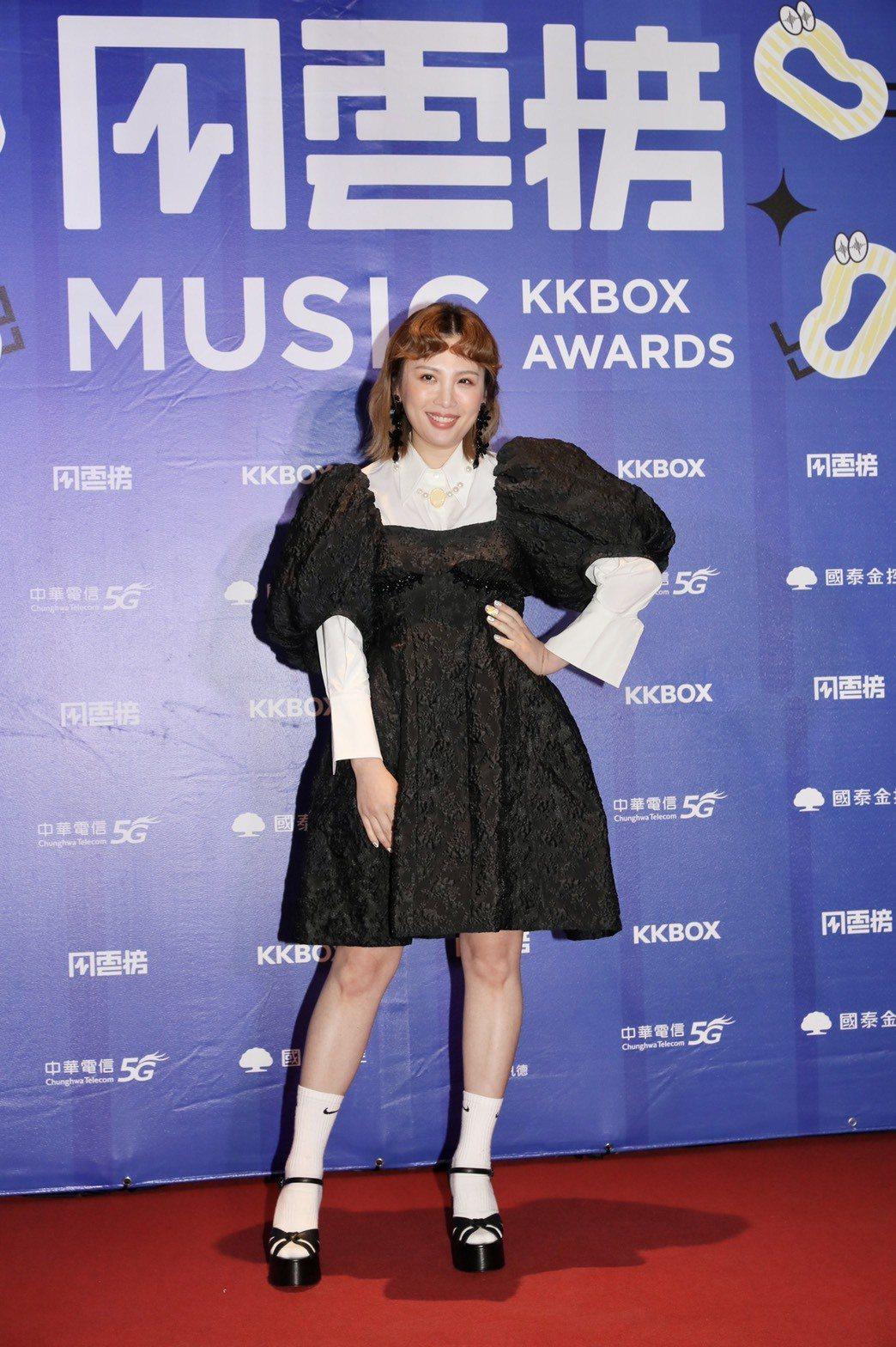 魏如萱今天奪KKBOX年度風雲歌手,看起來相當顯瘦。記者李政龍/攝影