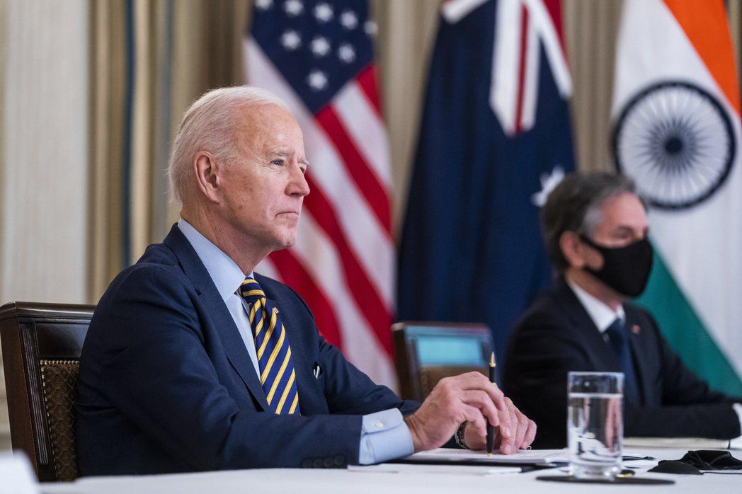 美國、日本、印度與澳洲四國領袖十二日舉行視訊四方安全對話,拜登和國務卿布林肯正在...