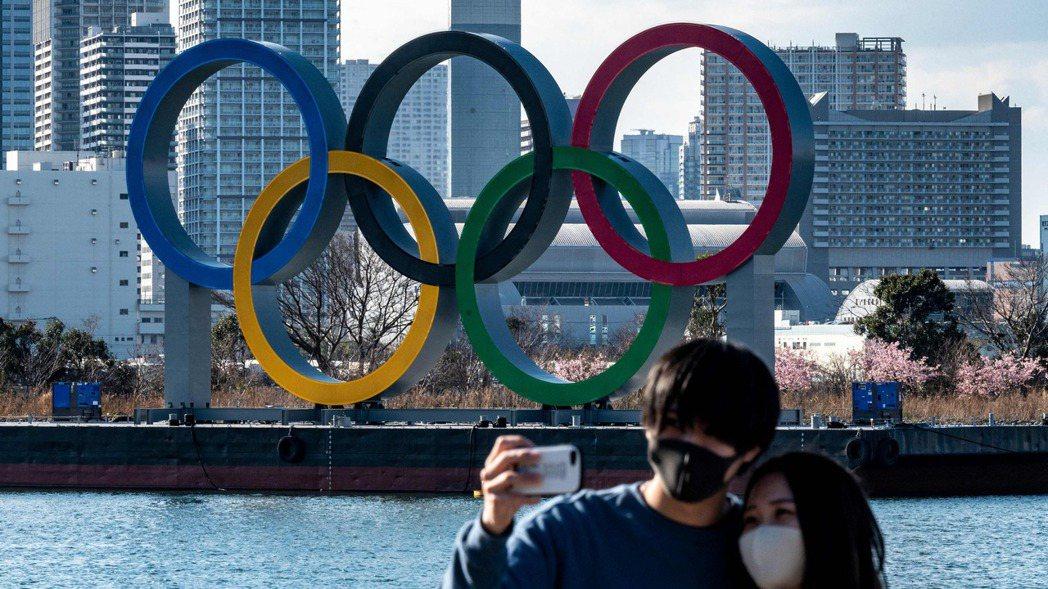 東京台場的奧運五環。(法新社)