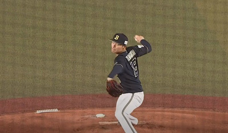 歐力士王牌投手山本由伸均速投球超過150公里,且年僅22歲,被大聯盟球探認為是當今日本職棒的最佳投手。圖擷自影片