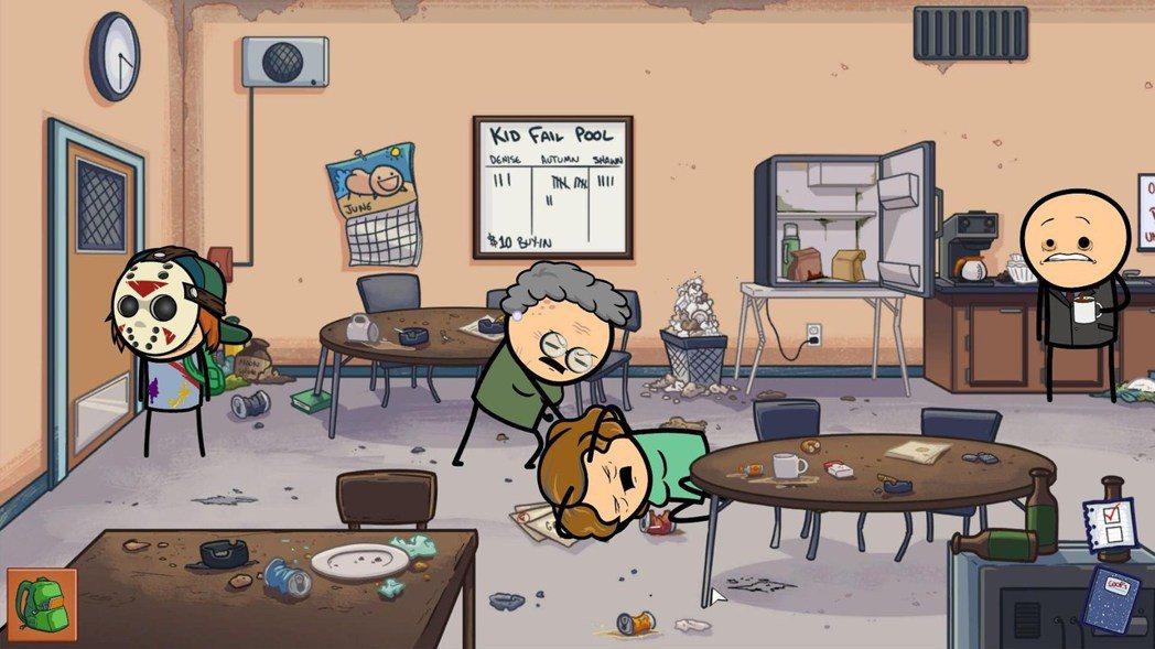 就連教師休息室都充滿暴力,當然還有滿滿的垃圾XD