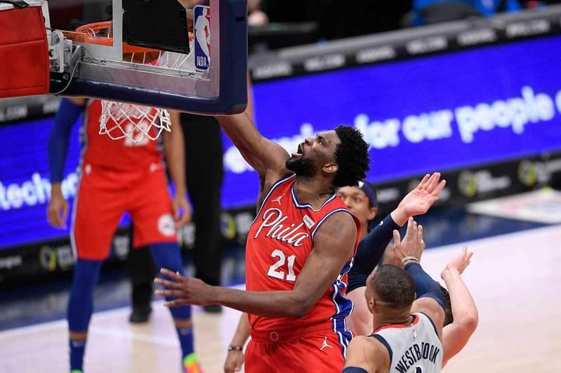 NBA賽程過半,各家媒體紛就上半季表現出色的球員給獎。MVP方面,大部分記者認為76人的安比德(21號)值得拿下2020-21上半球季的MVP。 美聯社