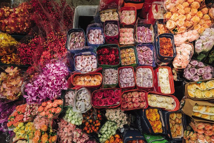 Ching Flowers sells around 60 to 70 varieties of flowers every day including colorful imported roses.