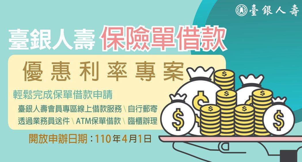 台銀人壽推保單優惠借款方案。圖/台銀人壽提供