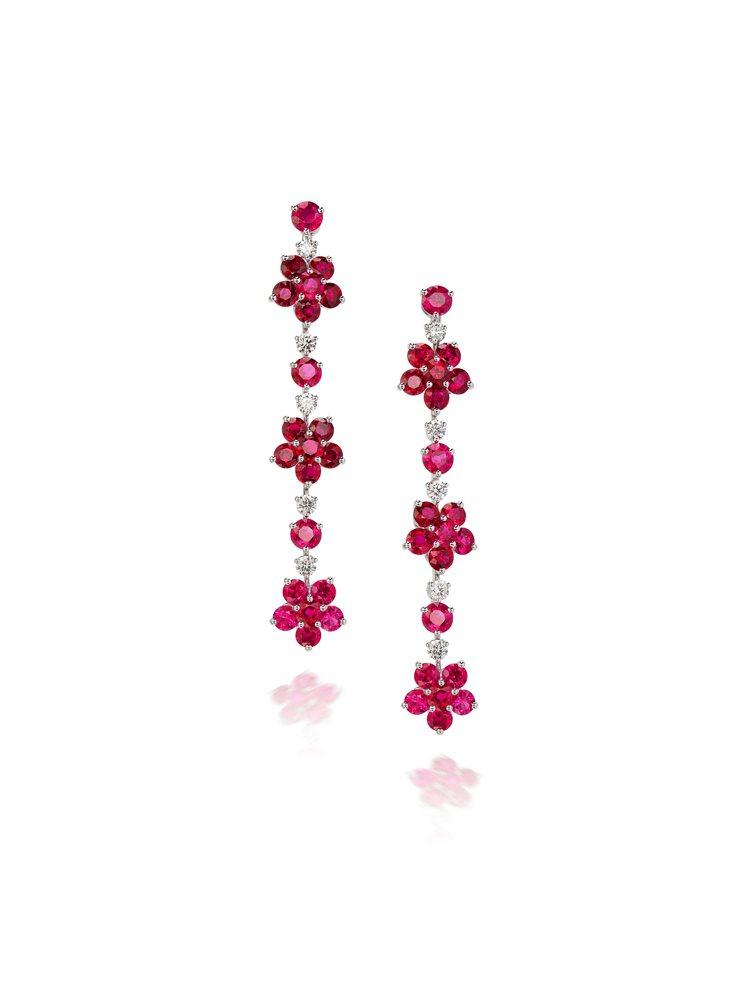 格拉夫,紅寶石配鑽石耳環一對,估價16萬港元起,採無底價方式上拍。圖/富藝斯提供