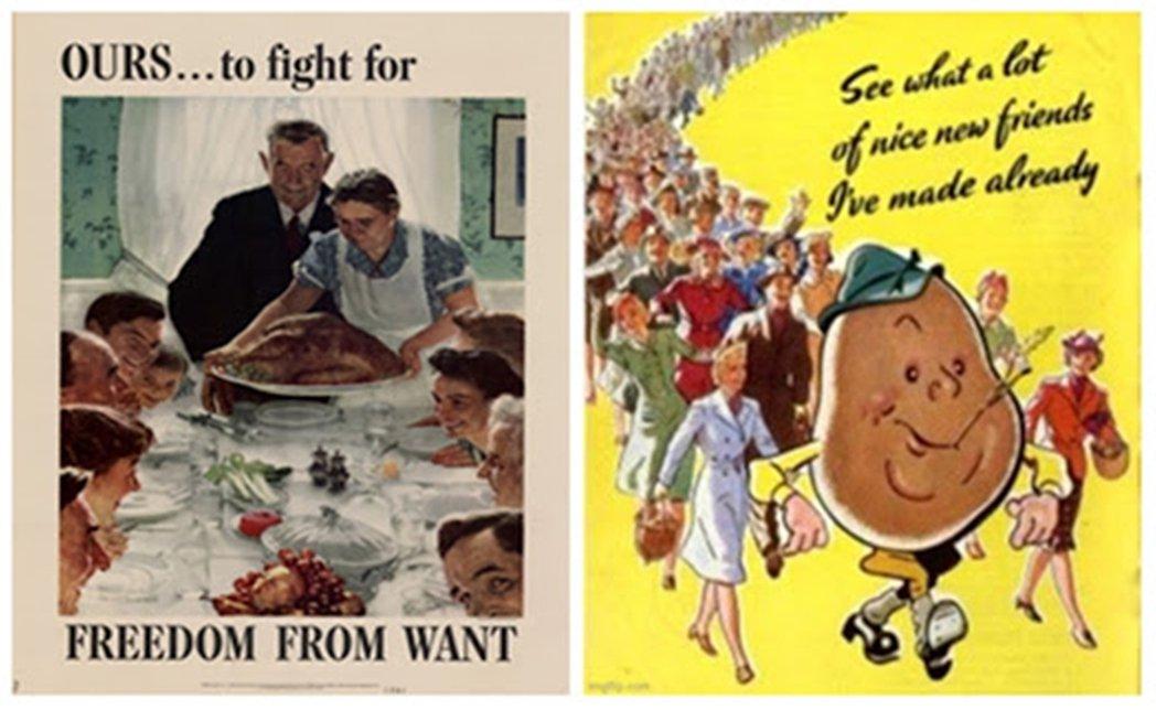 左為美國二戰時期插畫家諾曼洛克威爾的感恩節大餐插畫。戰爭期間,美國將原本與自己無...